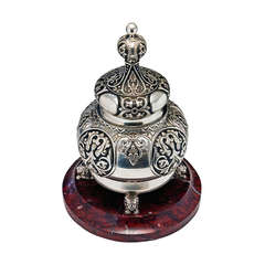 Faberge Silver Enamel Marble Inkwell 1910s