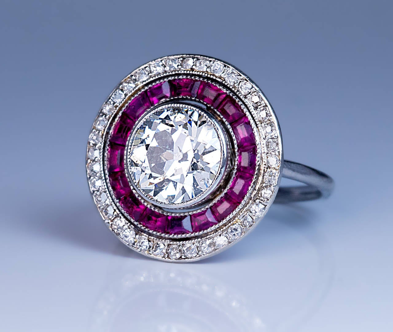 Art Deco 2 Carat Diamond Ruby Engagement Ring For 1