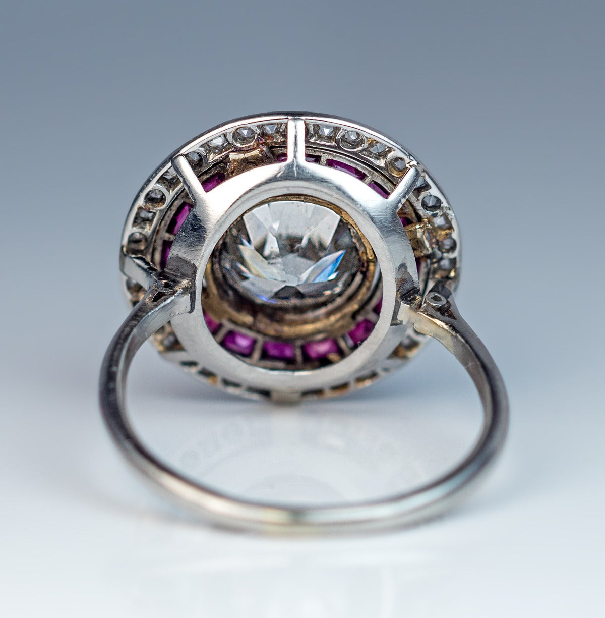 Women's Art Deco  2 Carat Diamond Ruby  Engagement Ring For Sale