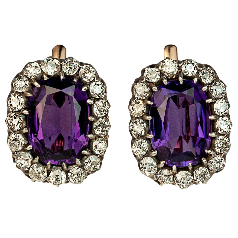 Large Russian Amethyst Diamond Silver Gold Cluster Earrings