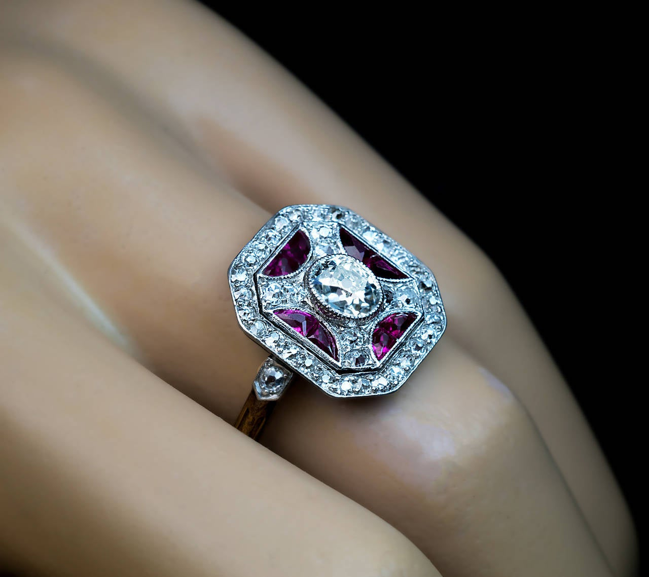 Women's Russian Art Deco Ruby Diamond Platinum Ring For Sale