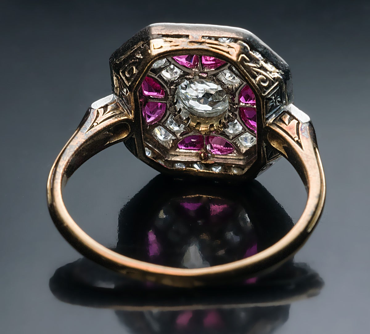 Russian Art Deco Ruby Diamond Platinum Ring For Sale 2
