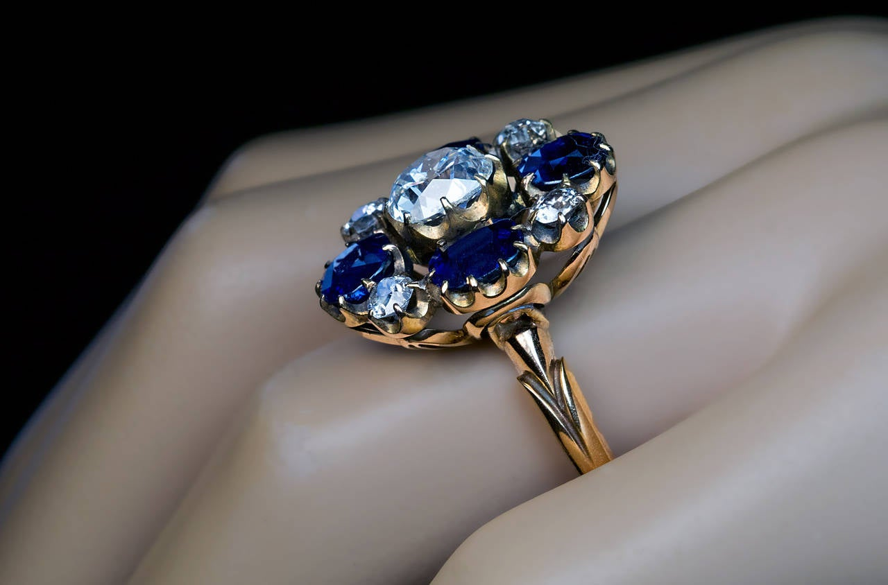 Russian Imperial Era Antique Sapphire Diamond Gold Cluster Ring 3