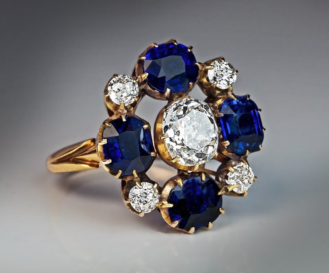 Russian Imperial Era Antique Sapphire Diamond Gold Cluster Ring 6