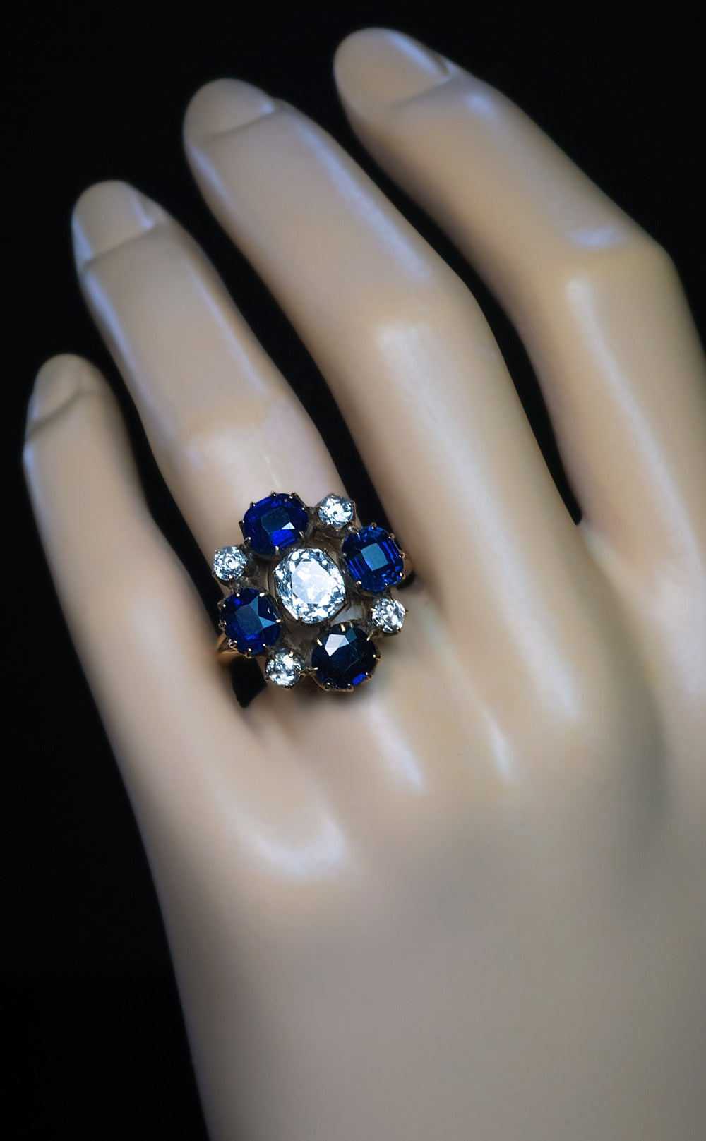 Russian Imperial Era Antique Sapphire Diamond Gold Cluster Ring 4