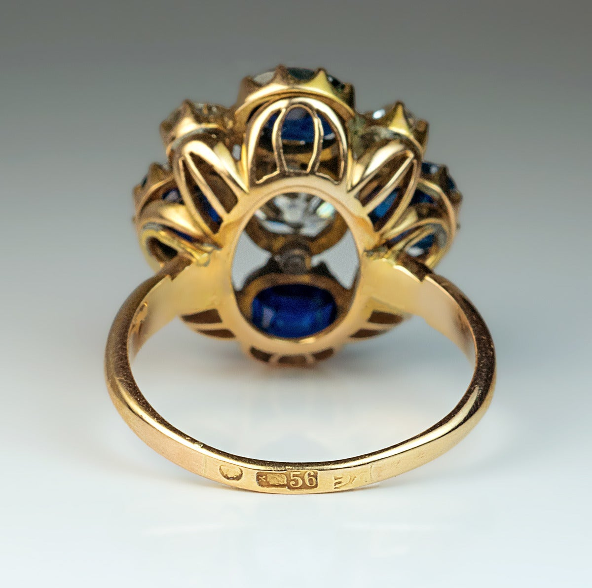 Russian Imperial Era Antique Sapphire Diamond Gold Cluster Ring 5