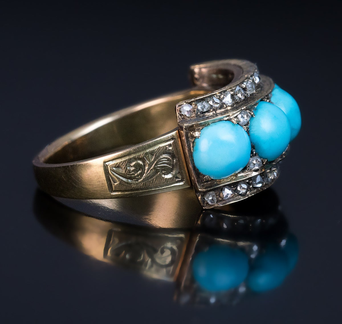1800s Victorian Turquoise Rose Cut Diamond Gold Ring For