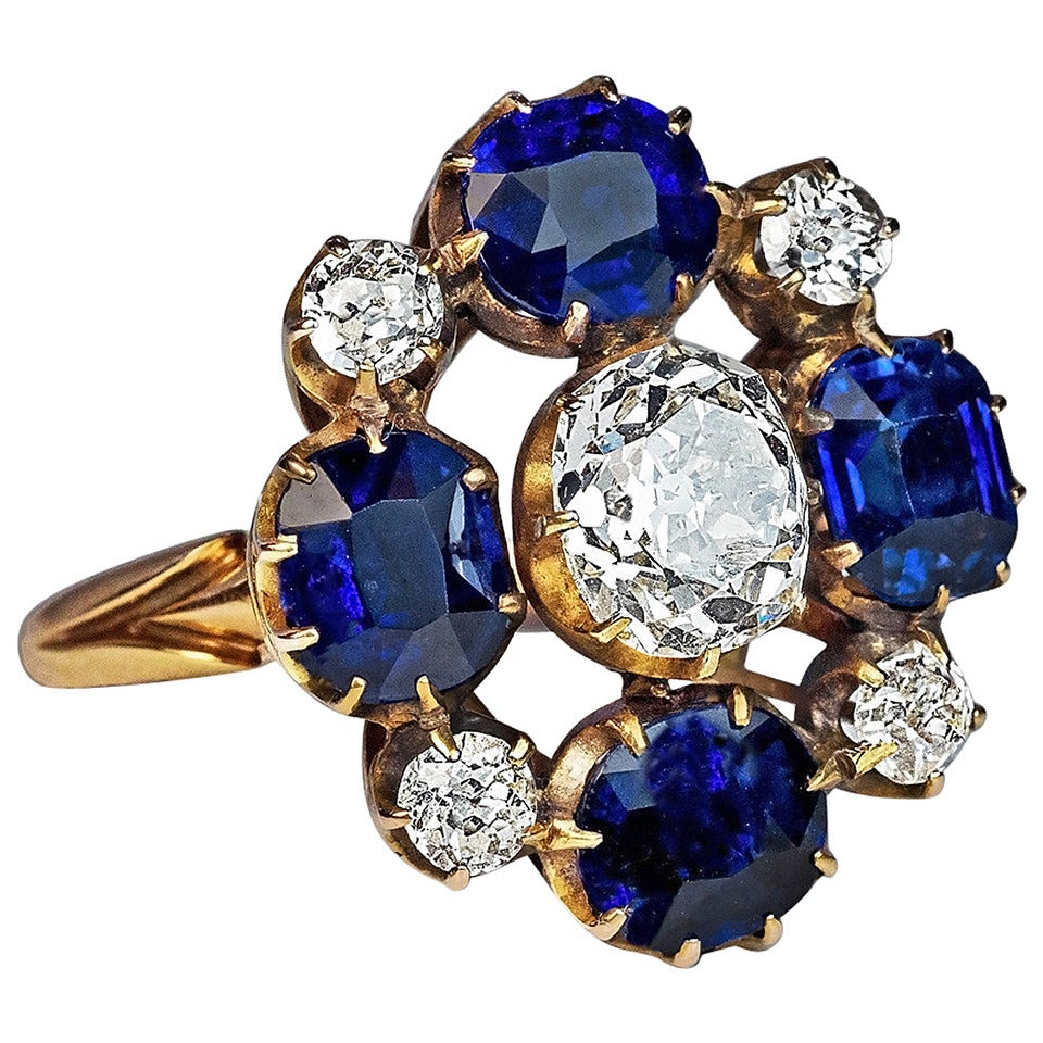 Russian Imperial Era Antique Sapphire Diamond Gold Cluster Ring 1