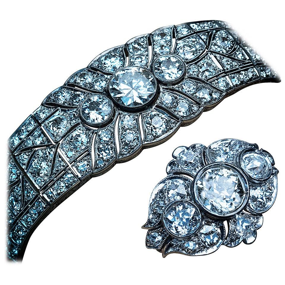 Magnificent Art Deco Diamond Platinum Bracelet And Ring
