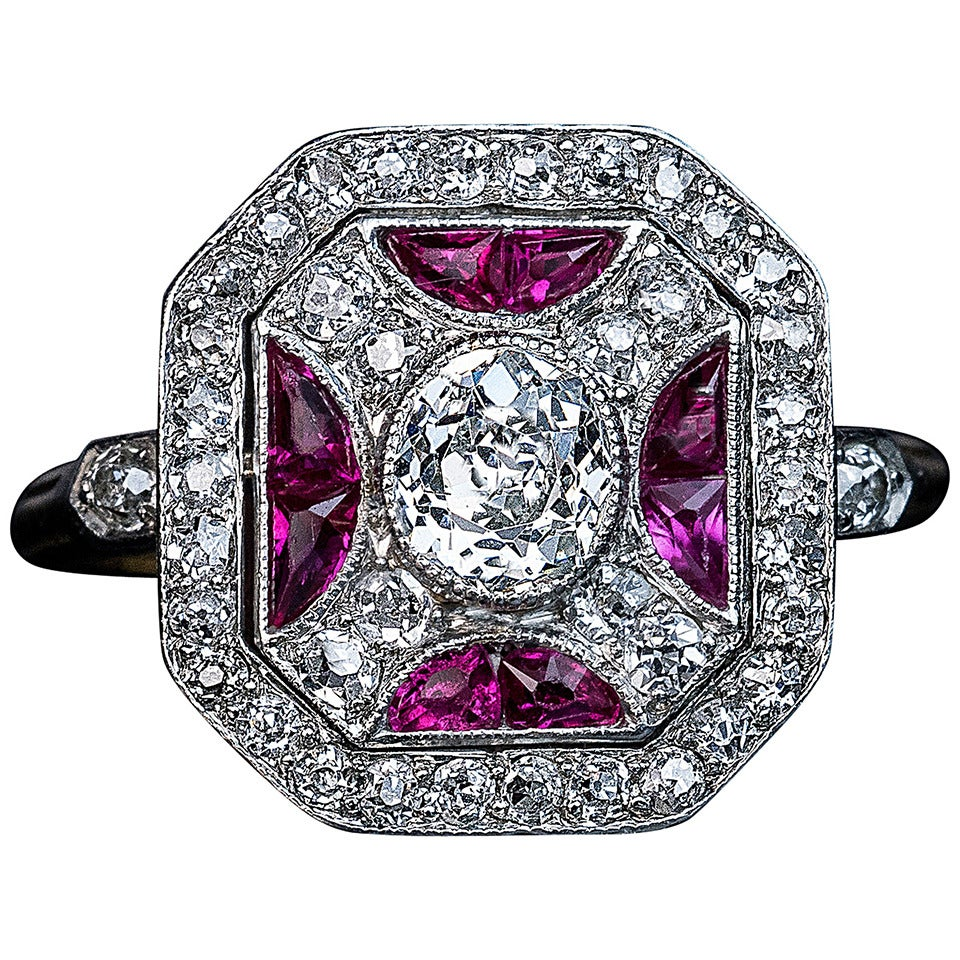 Russian Art Deco Ruby Diamond Platinum Ring