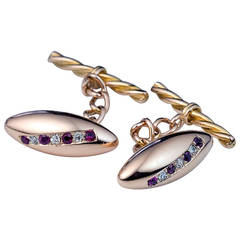 Antique Russian Ruby Diamond Gold Cufflinks