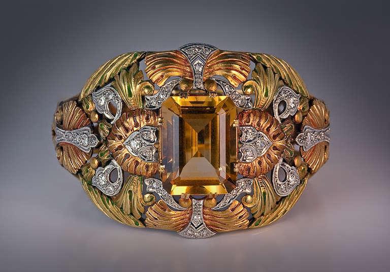 Art Nouveau Floral Multi Metal Gem Ring