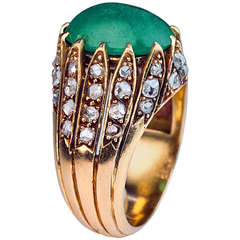 Antique French Cabochon Emerald Rose Diamond Ring