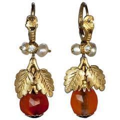 Georgian Amber Gold Earrings