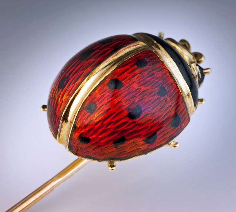 Antique Russian Ladybug Enamel Gold Stick Pin 2