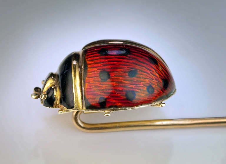 Antique Russian Ladybug Enamel Gold Stick Pin 3