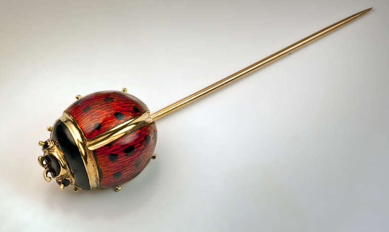 Antique Russian Ladybug Enamel Gold Stick Pin 5