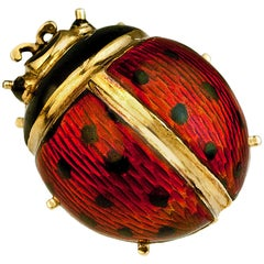 Antique Russian Ladybug Enamel Gold Stick Pin