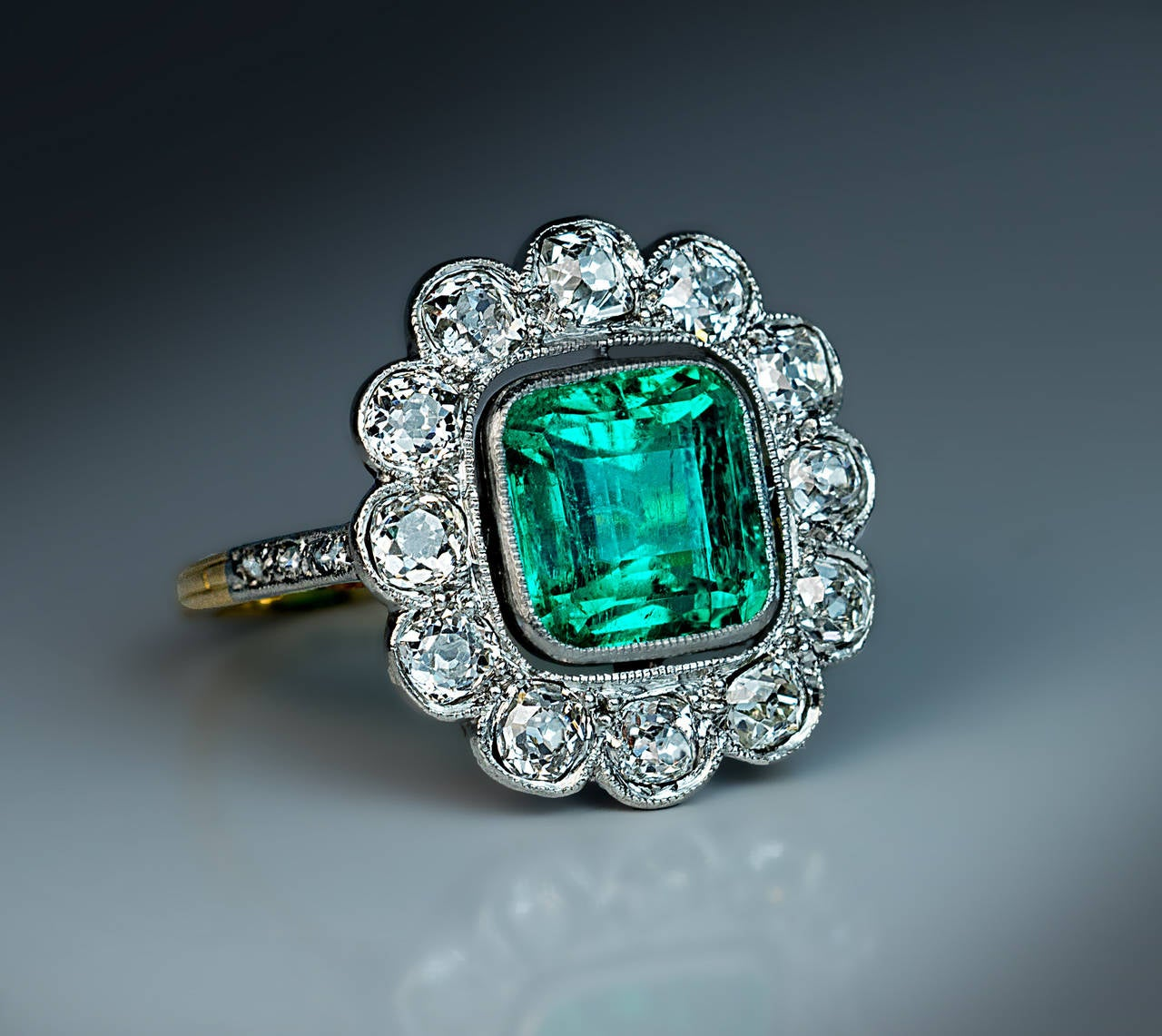 Antique Emerald Diamond Gold Platinum Cluster Ring At 1stdibs