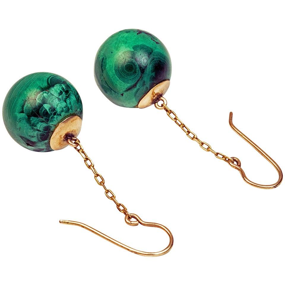 Antique Russian Malachite Pendant Earrings