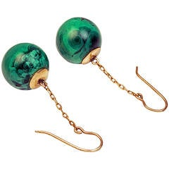 Antique Russian Malachite Pendant Earrings