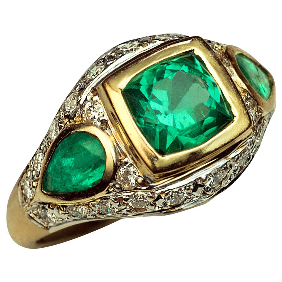 Retro Emerald Diamond Ring For Sale At 1stdibs