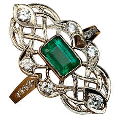 Art Deco Emerald Diamond Openwork Ring