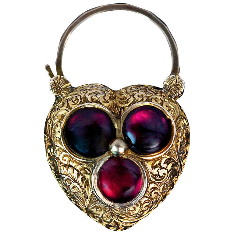 Antique Heart Shaped Padlock Pendant Locket