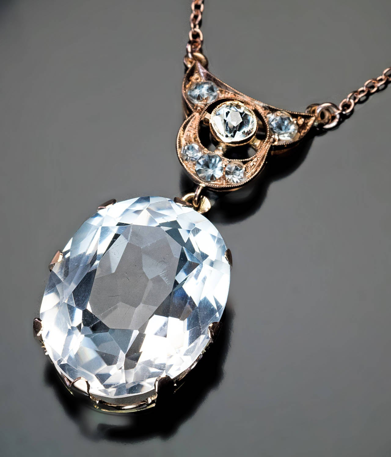 Women's Art Deco Rock Crystal Gold Necklace For Sale