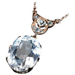 Art Deco Rock Crystal Gold Necklace