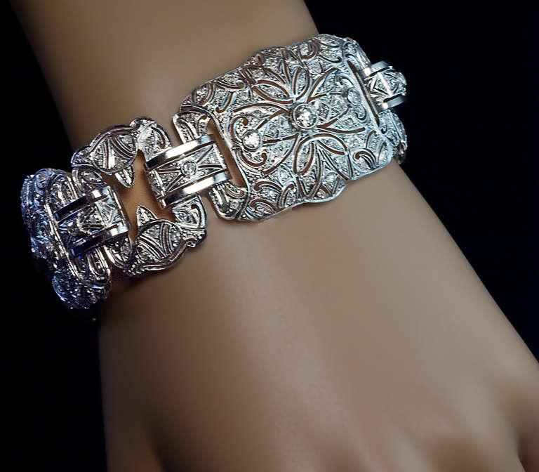Art Deco Platinum Diamond Openwork Wide Bracelet For Sale at 1stdibs
