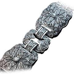 Art Deco Platinum Diamond Openwork Wide Bracelet
