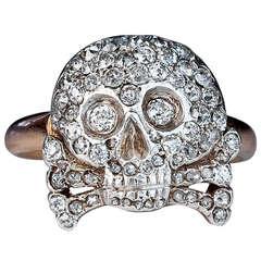 Antique Imperial Russian Diamond Skull Ring