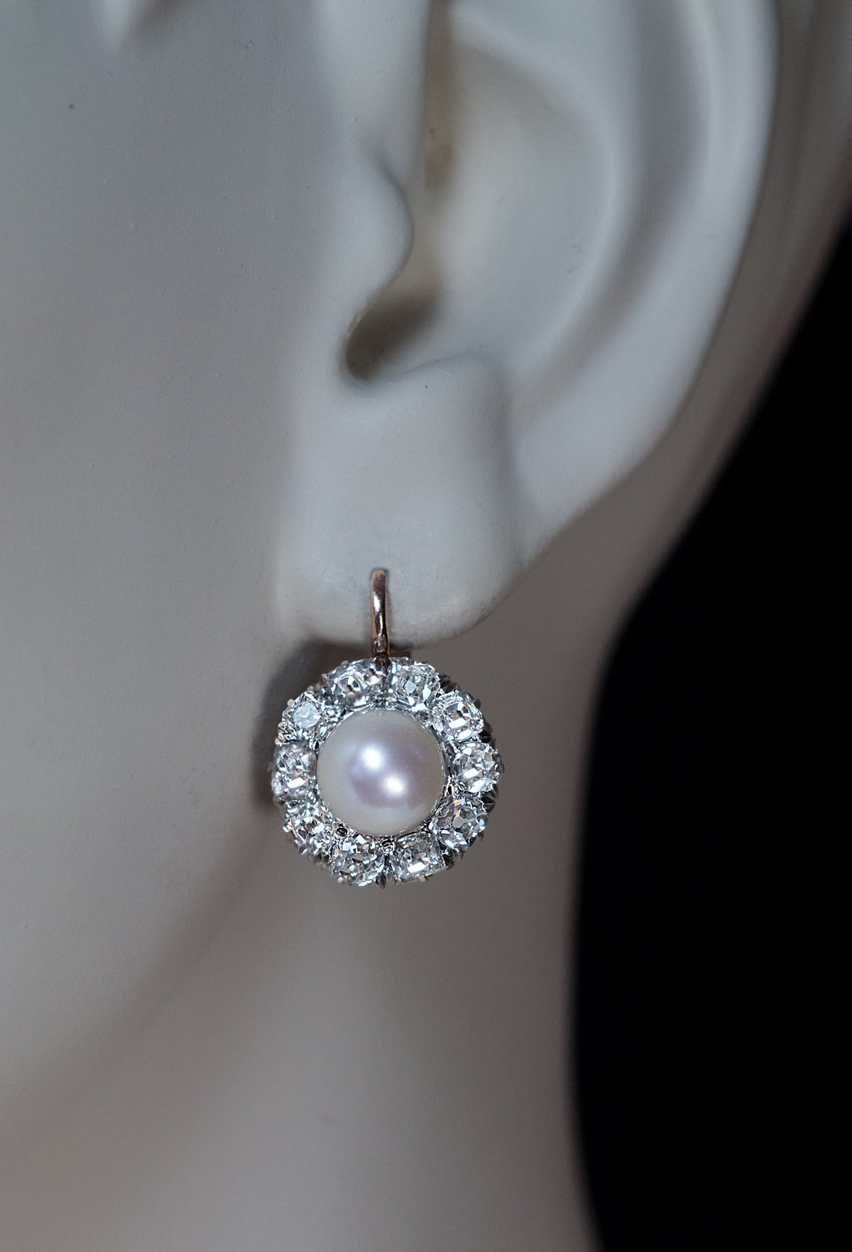 Antique Pearl Diamond Cluster Earrings At 1stdibs