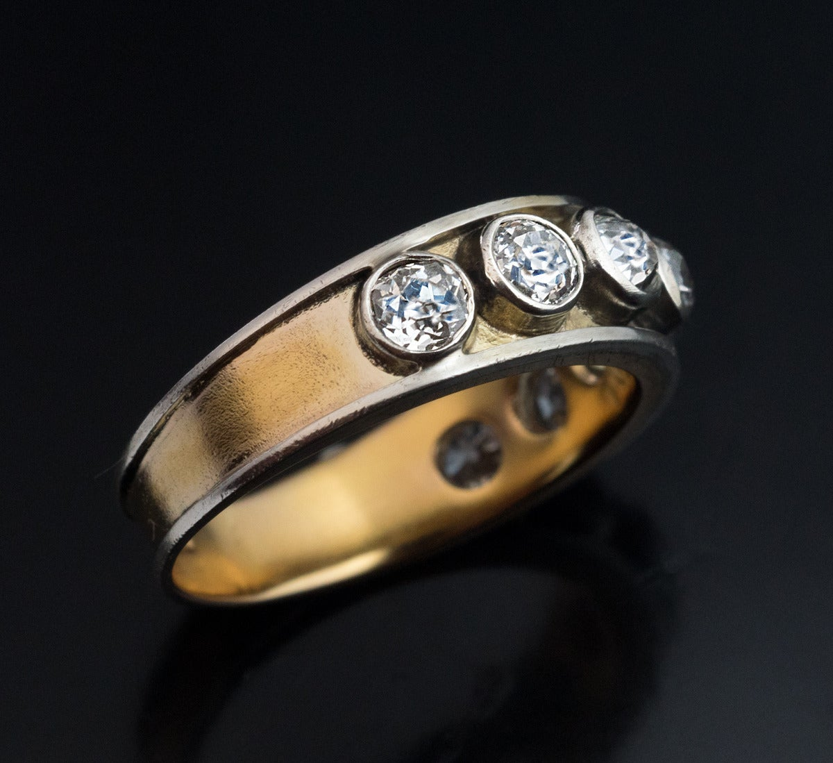 Antique Russian Men s Diamond Gold Band Ring For Sale at 1stdibs