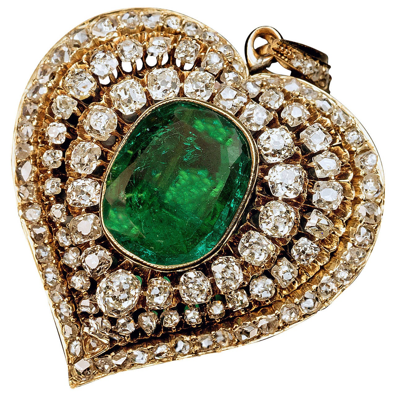 Victorian Emerald Diamond Gold Heart Shaped Pendant For Sale