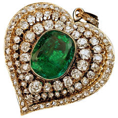 Victorian Emerald Diamond Gold Heart Shaped Pendant