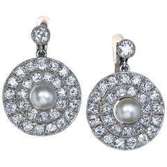 Antique Edwardian Pearl Diamond Gold Platinum Dangle Earrings