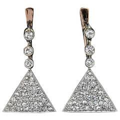 Antique Diamond Triangular Earrings