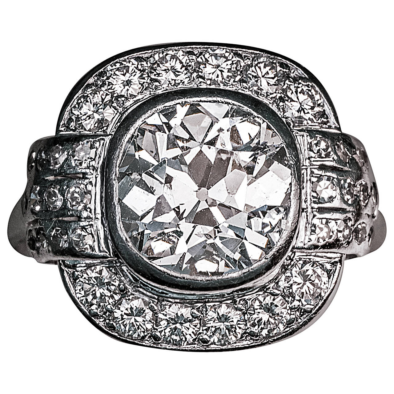 Art Deco 2.91 Carat Diamond Platinum Engagement Ring For Sale
