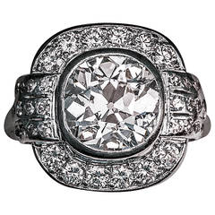 Art Deco 3 Carat Diamond Platinum Engagement Ring