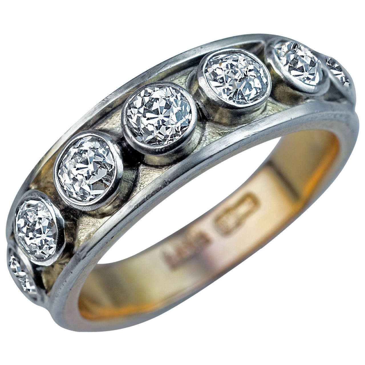 Antique Russian Mens Diamond Gold Band Ring For Sale at 1stdibs