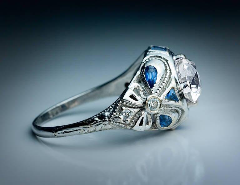 Art Deco Diamond Sapphire Engagement Ring 3