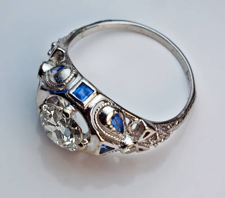 Women's Art Deco Diamond Sapphire Engagement Ring For Sale