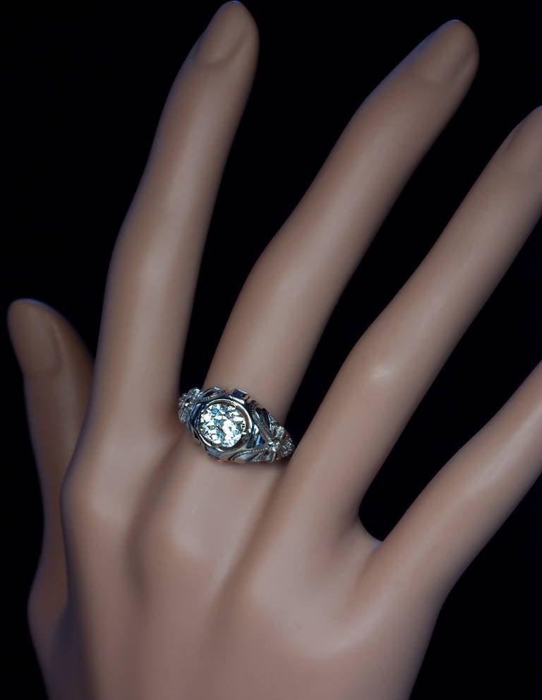 Art Deco Diamond Sapphire Engagement Ring 6