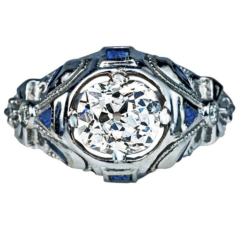 Art Deco Diamond Sapphire Engagement Ring For Sale