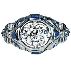Art Deco Diamond Sapphire Engagement Ring