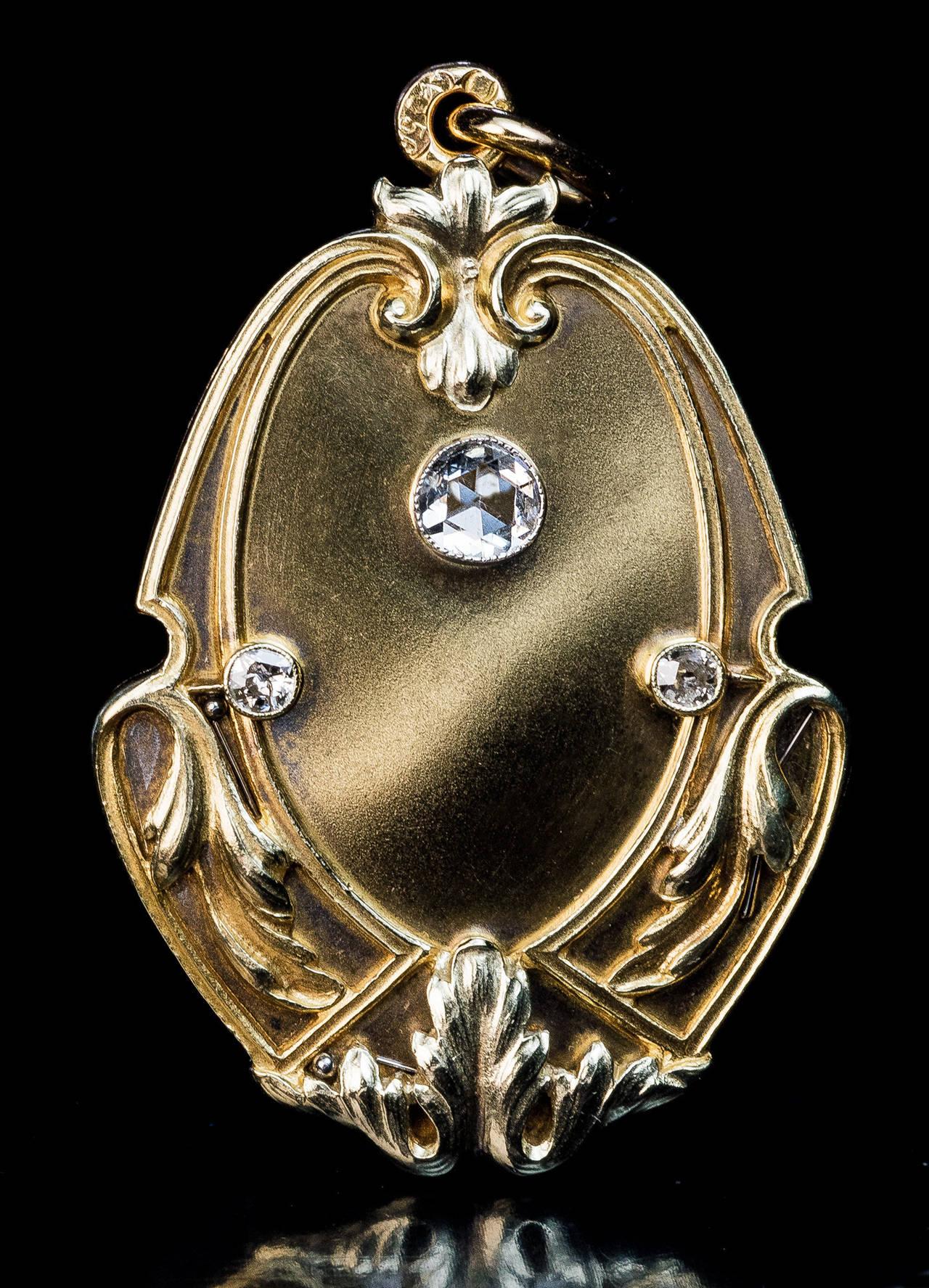 Art Nouveau Antique Russian Diamond Gold Locket 3