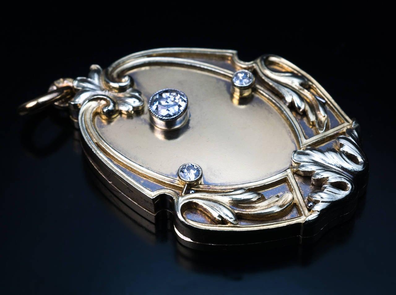 Art Nouveau Antique Russian Diamond Gold Locket 2