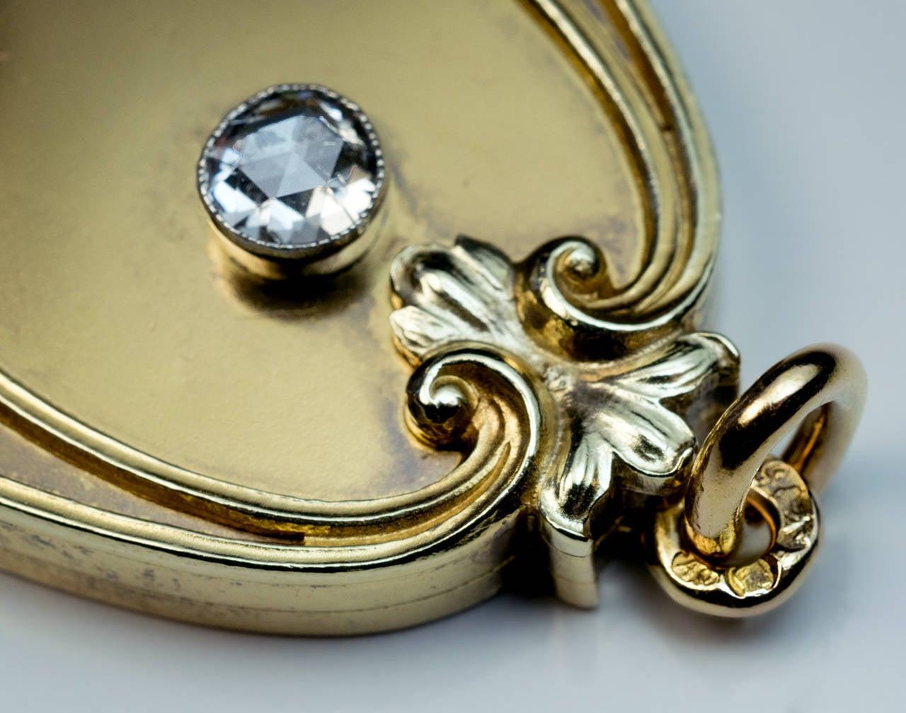Women's Art Nouveau Antique Russian Diamond Gold Locket For Sale